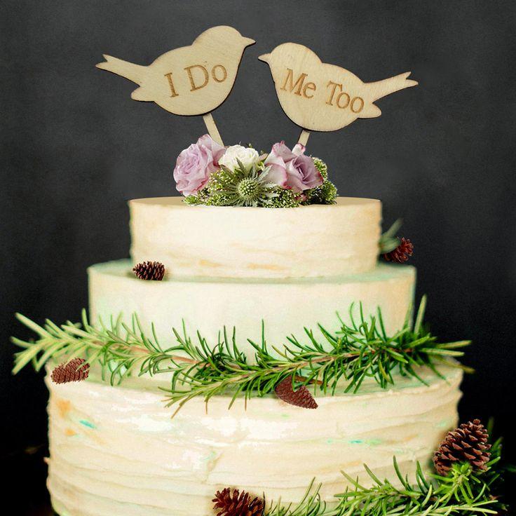 2 шт. КУРЮ Меня ТОЖЕ Люблю Птиц Свадебные Обручальное Деревянный Торт Топпер Фото Реквизит купить на AliExpress