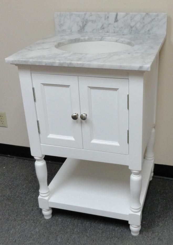 Westwood (single) USA Made Plantation Style Bathroom Vanity W White Carrera Marble  Top