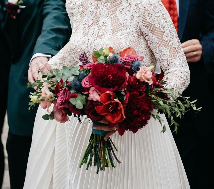 Marsala peony wedding bouquet