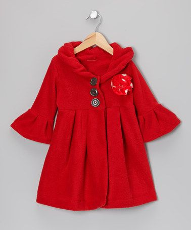 Take a look at this Red Couture Polka Dot Flower Dress Coat - Toddler & Girls by Beary Basics on #zulily today!