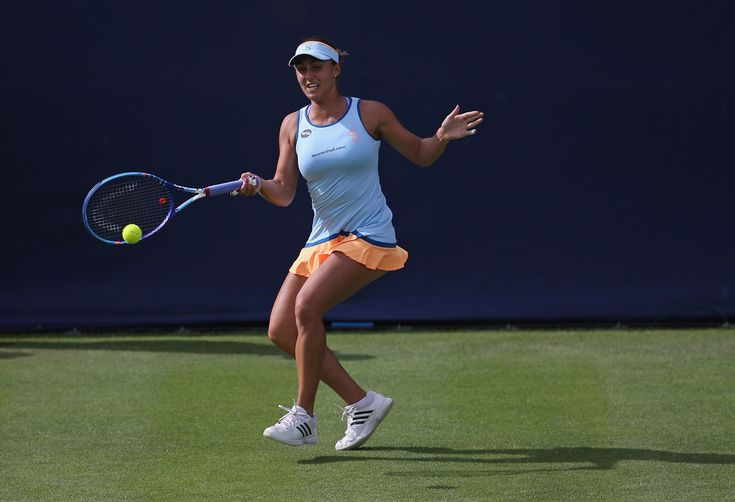 Tamira Paszek Photos Photos - Tamira Paszek of Austria plays a forehand during her women's singles first round match against Tara Moore of Great Britain on day two of the WTA Aegon Classic at Edgbaston Priory Club on June 14, 2016 in Birmingham, England. - Aegon Classic - Day 2