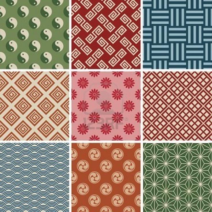 シームレスな日本の伝統的なパターンを設定します。 ストックフォト