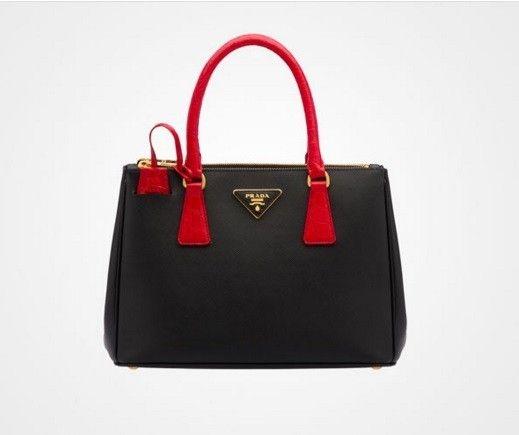 Galleria Bag bicolor Prada - Modello nero con manico in pelle di coccodrillo dal catalogo di borse Primavera/Estate 2016