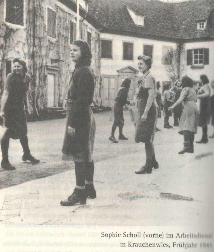 "A photo of Sophie Scholl in the RAD, 1941. ""Sophie Scholl (front) in the Labor Service in Krauchenwies, spring 1941."" Image found in Sophie ..."