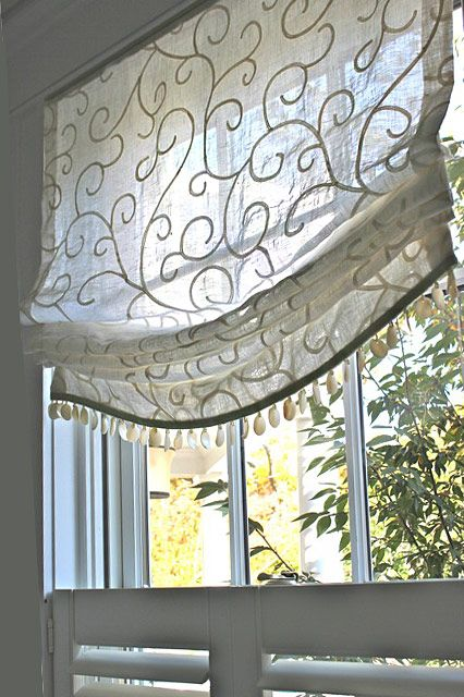 Flat Roman Window Treatment Fabricated From Embroidered Sheer With Bead Detail At Hem Blinds Over Top Short Upper Valance Material That