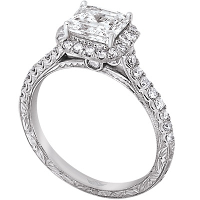 FlyerFit Halo Pave Diamond Engagement Ring With Hand Engraving Matching Wedding