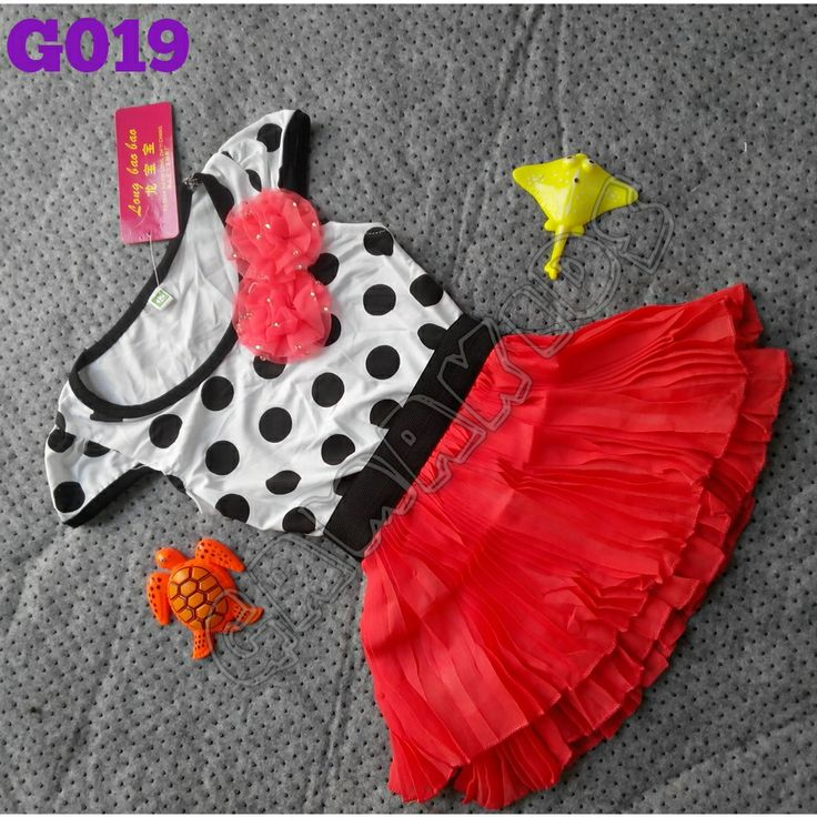 Polka selly dress (G019)    Warna Pink & Babypink    Size 1-4 tahun    IDR 85.000