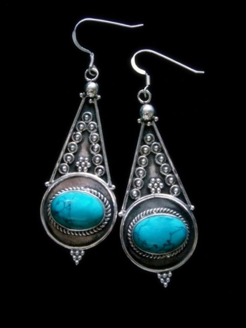Turquoise and Sterling Silver Dangle Earrings - Large Ethnic Jewellery