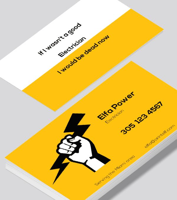 78 best freelance business card designs images on pinterest a business card for the electrician modern and sleek yellow white and black colourmoves Choice Image