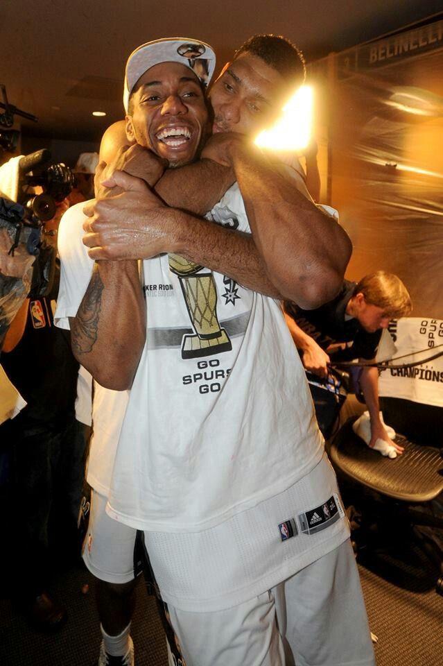 Spurs Tim Duncan & Finals MVP Kawhi Leonard Celebrate 2014 NBA FINALS CHAMPIONSHIP #gospursgo