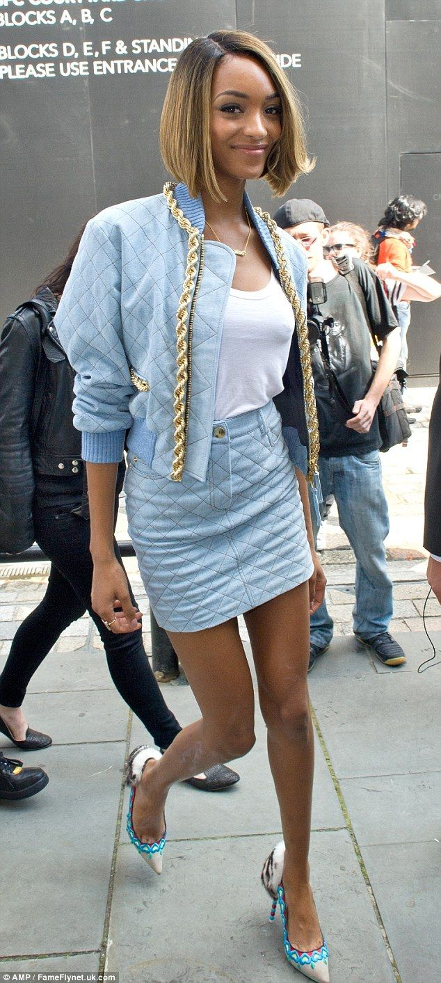 Coming through!Jourdan Dunn makes a stylish appearanceat Somerset House for the first day of London Fashion Week in an ice blue quilted mini skirt and matching bomber jacket http://dailym.ai/1AHvvhJ #LFW