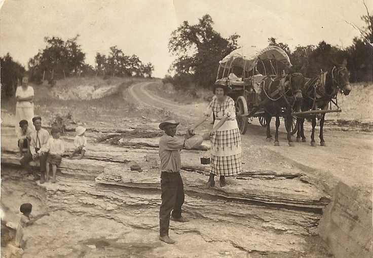 "Traces of Texas reader Debby Everett graciously submitted this wonderful circa 1920 photo. It was taken at the Paluxy River near Glen Rose and shows the Sherrod family traveling home to Johnsville from Glen Rose. It looks fantastic in ""full screen"" mode."