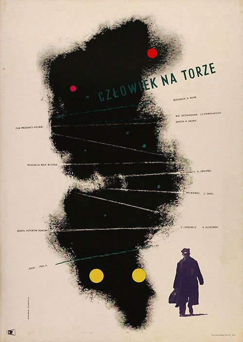 Polish poster for MAN ON THE TRACKS (Andzej Munk, Poland, 1957)  Artist: Stanisław Zamecznik (1909-1971)  Poster source: Terry Posters