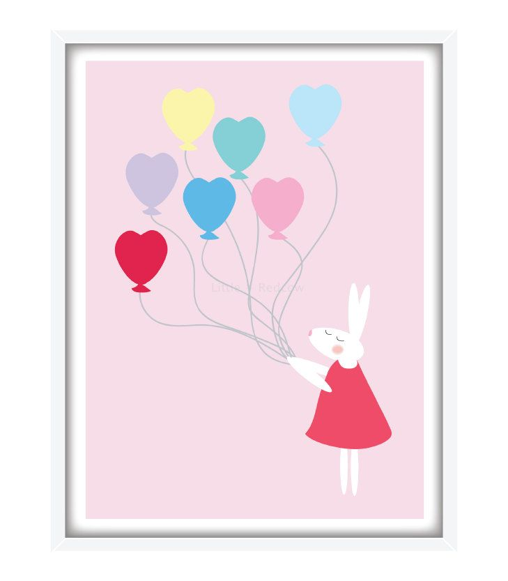 Bunny Hearts Nursery Print - Free Shipping (AUS) by redcowblue on Etsy