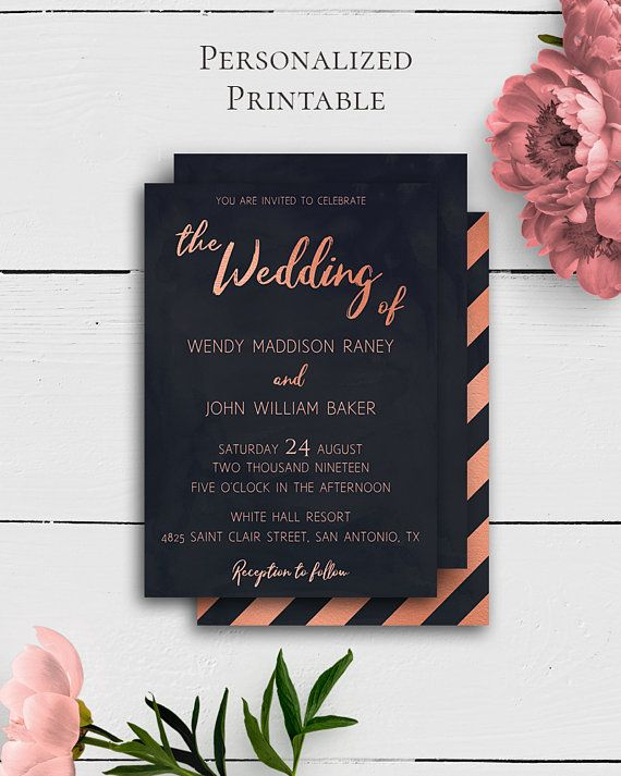 Rose Gold Invitation Template With Grand And Refined Navy Blue