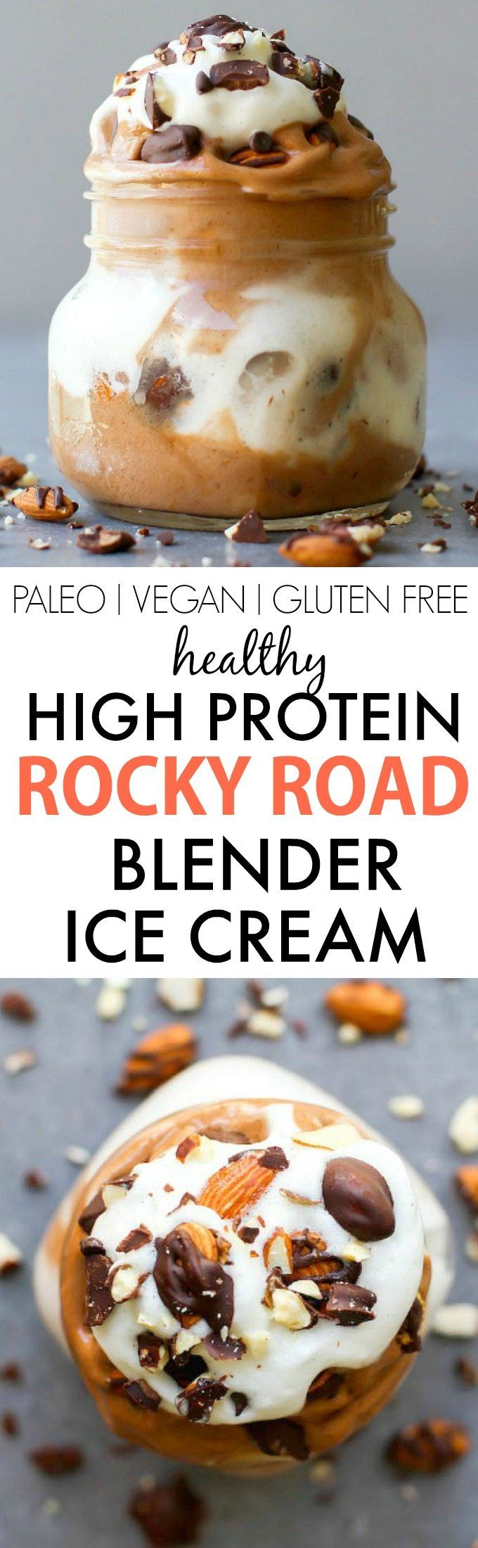 Healthy Rocky Road BLENDER Ice Cream- Smooth, thick and creamy and LOADED with protein, this simple, easy blender made ice cream (nice cream) has NO dairy, cream, sugar or nasties- An Aquafaba option too!{vegan, gluten free, paleo recipe}- thebigmansworld.com