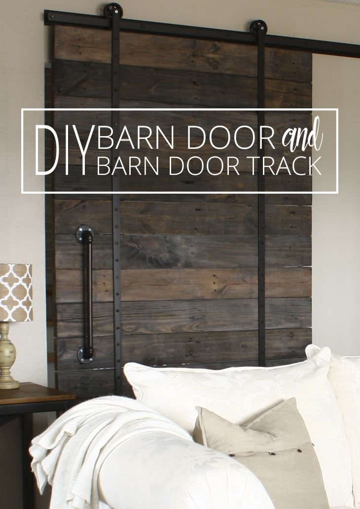 DIY Barn Door and DIY Barn Door Track That Won't Break the Bank! via @akadesigndotca
