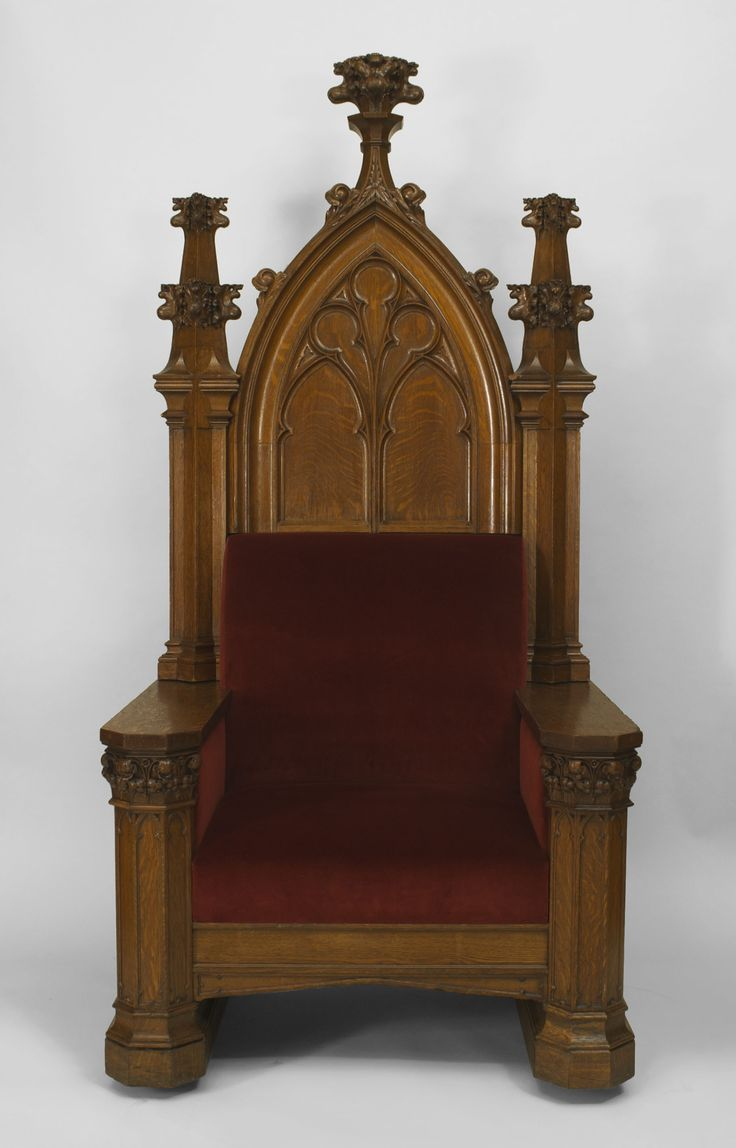 Antique gothic revival furniture for sale - For Sale On English Gothic Revival Cent Oak Monumental Throne Chair With Tracery Carved Back And A Center Finial With Upholstered Red Velvet Seat And