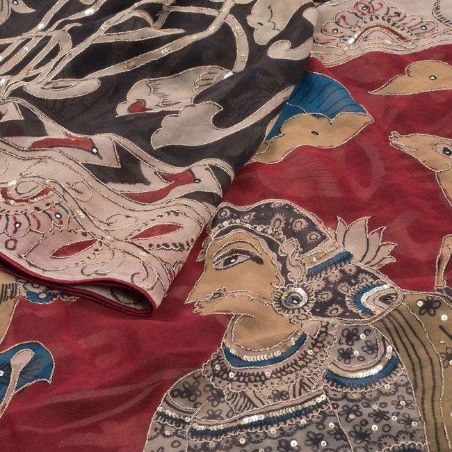 Black Hand Painted Pen Kalamkari Georgette Saree With Floral Motifs & Sequin Work-  AVISHYA.COM