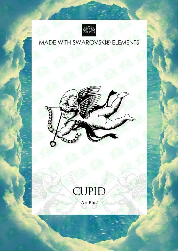 Glitter Jewelry Cupid, the arrow of love design Body Art Temporary Tattoo Stickers, Organic Ink, Non-toxic Glue