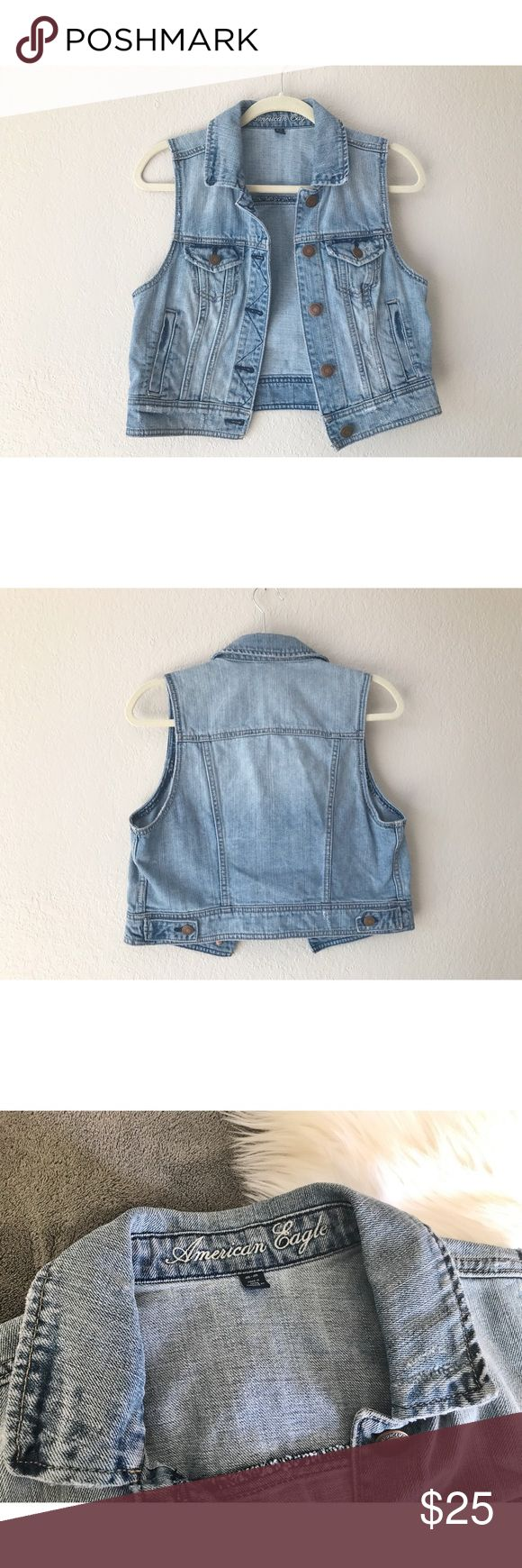 🌿American Eagle // Jean Vest 🌿 American Eagle // soft broken in jean vest// light denim color // 💯 cotton // true to size medium// 17' inches from shoulder to bottom of vest 🌿 American Eagle Outfitters Jackets & Coats Vests