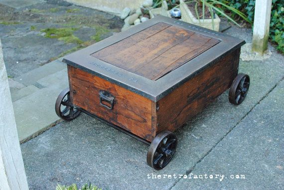 Vintage Industrial Factory Cart Coffee Table from 1880's Philadelphia tapestry mill on Etsy, $850.00