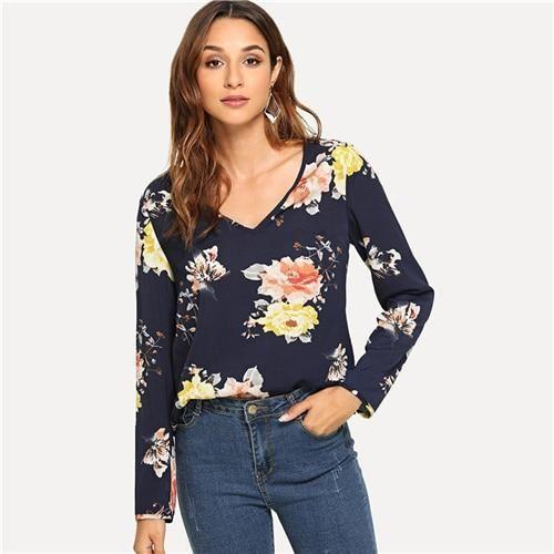 SHEIN Navy Floral Print Bell Sleeve Blouse Casual Elegant V Neck Flounce Sleeve Blouses Women Autumn Bohemian Shirt Tops