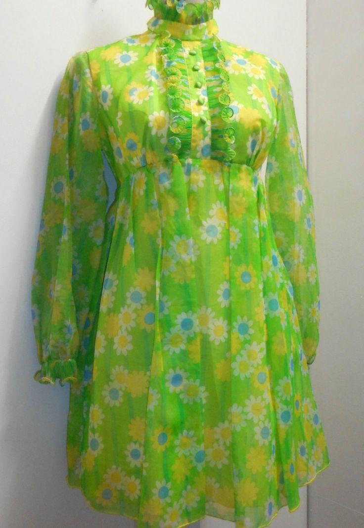1960's Chiffon Mini-dress by recycology on Etsy