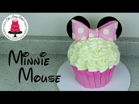 Giant Buttercream Minnie Mouse Cupcake Cake - How To With The Icing Artist - YouTube