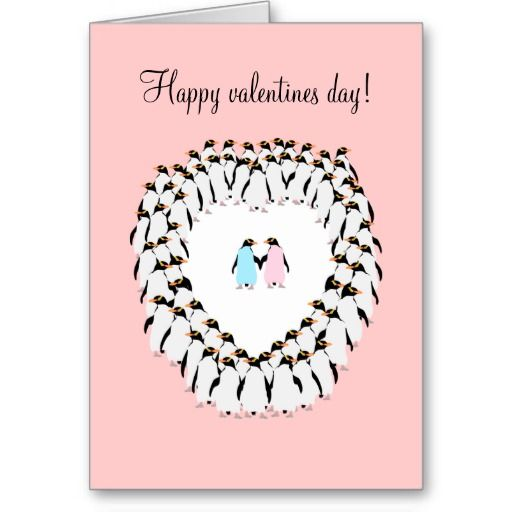 Valentines day card, Penguins in love card.  The inside of this card is a bit of fun... I am proud to tell all the other penguins that I love you! On the outside two pastel colored penguins, one blue, one pink hold hands. The are surrounded by a group of penguins forming a heart shaped clearing.    Created By mailboxdisco