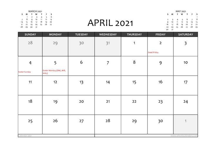 Free Printable April 2021 Calendar UK in 2020 | Calendar ...