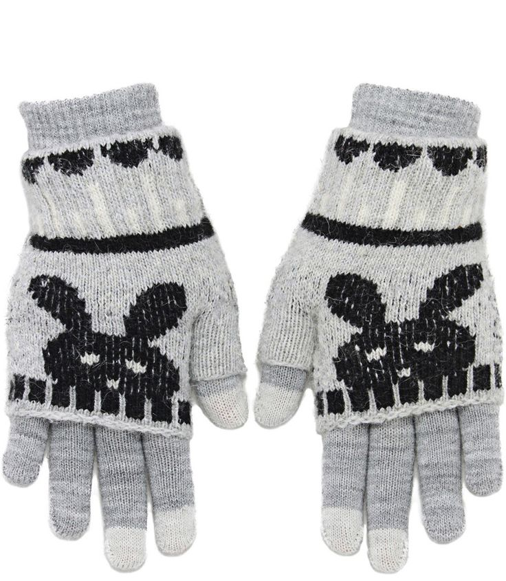 2 IN 1 BUNNY TECH GLOVES IN GRAY $19.99 CAD