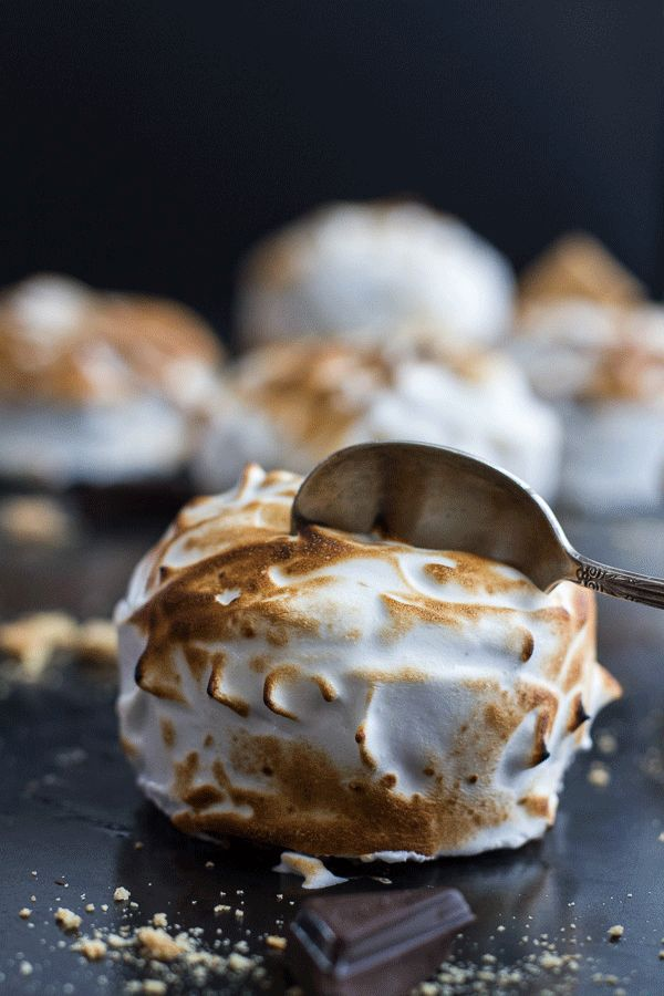 Meringue Encased Chocolate Mousse S'more Cakes | Via: Half Baked Harvest