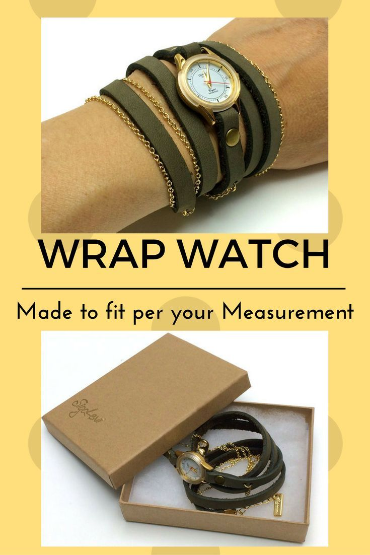 MADE TO FIT YOUR SIZE  Olive green women's wrap watch. This watch features a small and elegant round watch in thick leather strap and a fine golden chain. The chain is integrated with the strap so both wrap together. The lobster clasp closing allows quick and safe closure on hand.The watch movement is a premium quality water resistant mechanism assuring you a reliable watch for years.