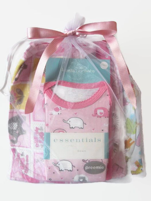 Preemie Girl Baby Gift Pack Pink Elephant Gown 4 Handcrafted Large Burp Cloths  #KoalaBaby