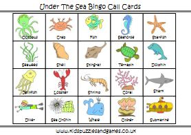 Party Activity: Under the Sea Bingo Sea Bingo Call Cards