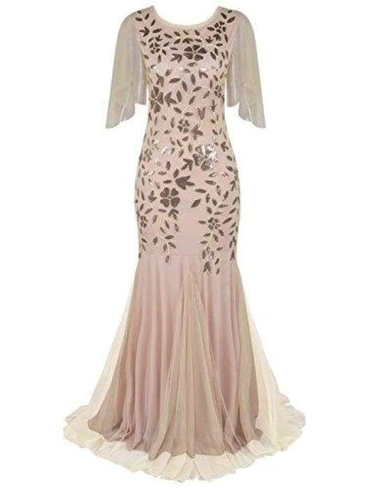 9f2561fcc08c 1920s Maxi Long Prom Gowns Sequin Mermaid Hem Evening Dress With Sleeves