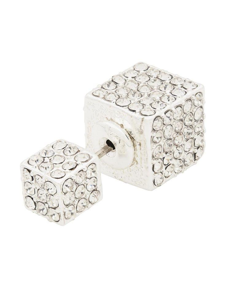 Double Crystal Cube Earring