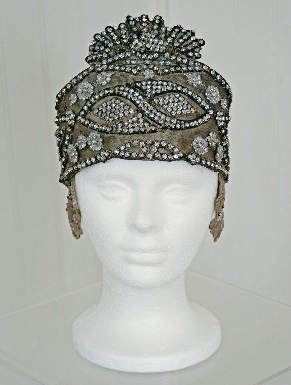 1920s opulent gold lamé rhinestone beaded headpiece.