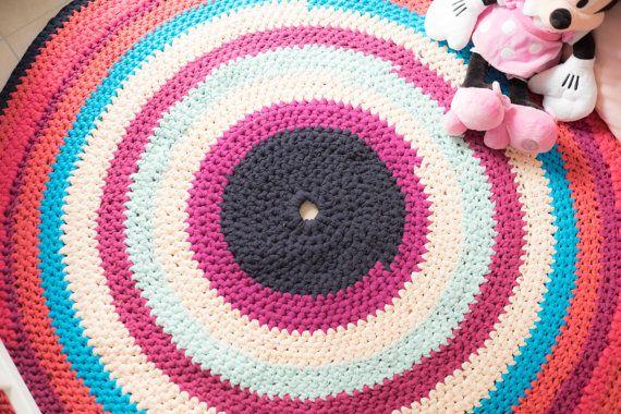 Round rug Crochet rug Handmade rug Nursery rug by arceb on Etsy
