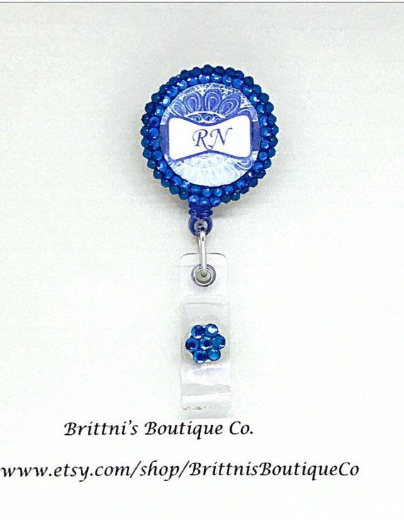 personalized badge reel blue bling name or title badge reel