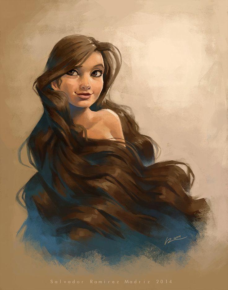 "Girl drawing, long beautiful hair / Ragazza, bei capelli lunghi - Art by Salvador Ramirez (ReevolveR on deviantART, ""Always on my mind"")"