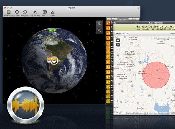 xQuake 2: the latest earthquakes on a 3D globe. / #iPad #iPhone #Mac