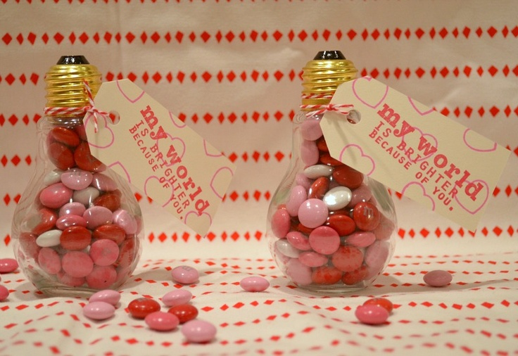 Light Bulb Valentines using containers from Hobby Lobby.