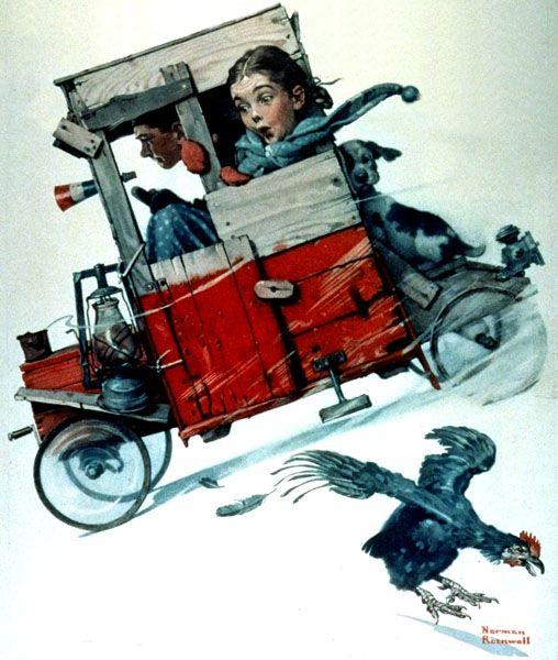 "Norman Rockwell ""Soapbox Racer"" (1926): Postnorman Rockwell, Rockwell Art, Boxes Racers, Artnorman Rockwell, Soaps Boxes, Artists Norman, Art Norman Rockwell, Downhill Dare, Saturday Evening Post"