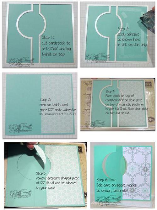 www.PattyStamps.com - Circle thinlit flip card DSP tip