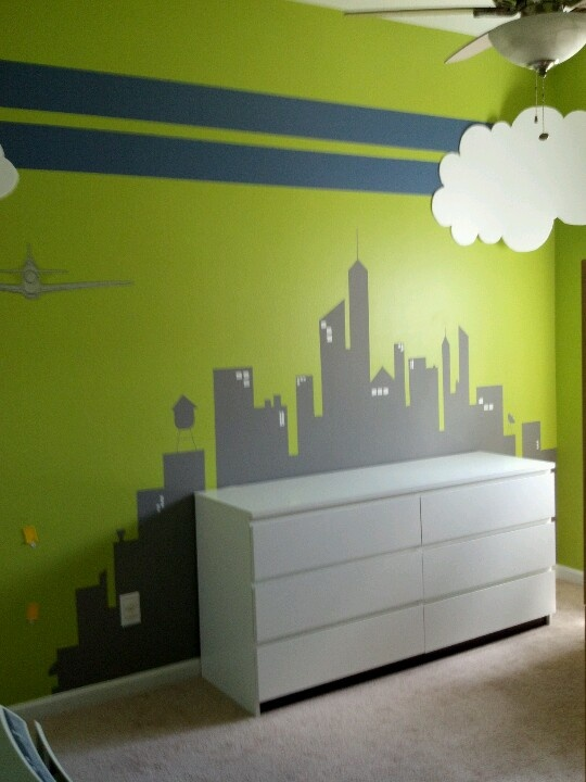 For my Super Boys! Skyline, clouds, airplane decals, racing stripes