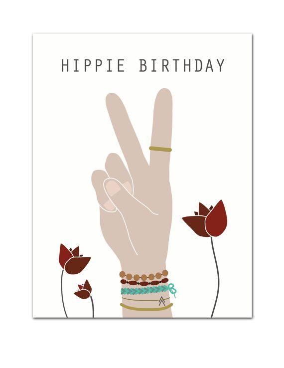 Hippie Birthday Greeting Card