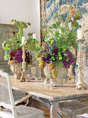 shabby with stone planters and candlesticks