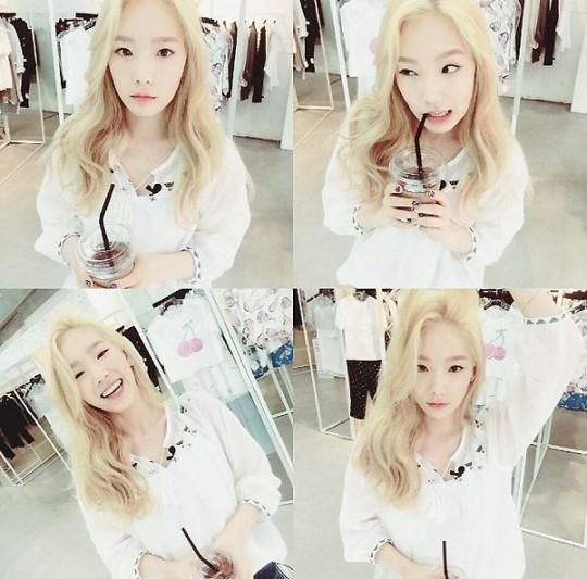 Girls' Generation's Taeyeon Shares Photos Of Her Blonde Hair While At A Boutique - http://imkpop.com/girls-generations-taeyeon-shares-photos-of-her-blonde-hair-while-at-a-boutique/
